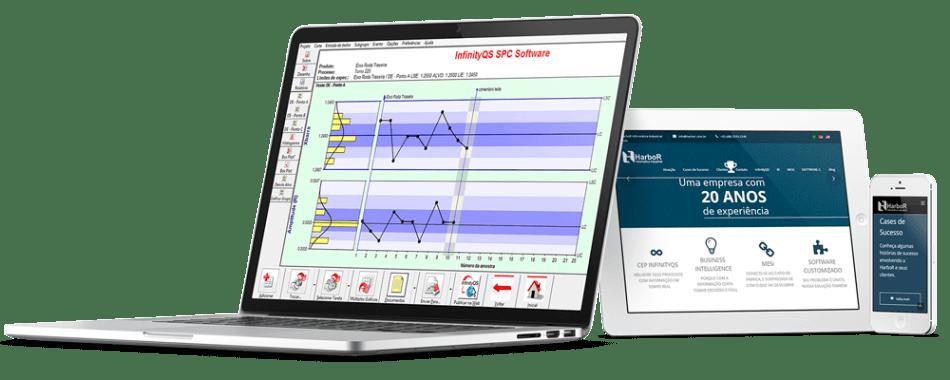 Mockup com tela do InfinityQS - Software Industrial - HarboR Informática Industrial