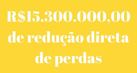 R$15.300.00,00 de redução direta de perdas